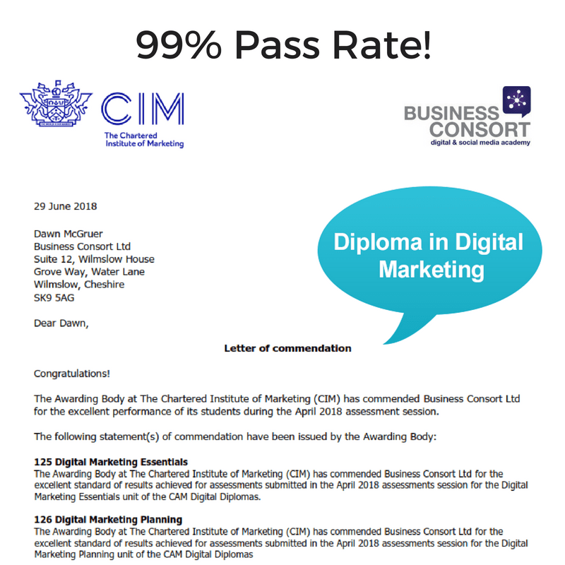 Commended for Outstanding CIM Diploma Results